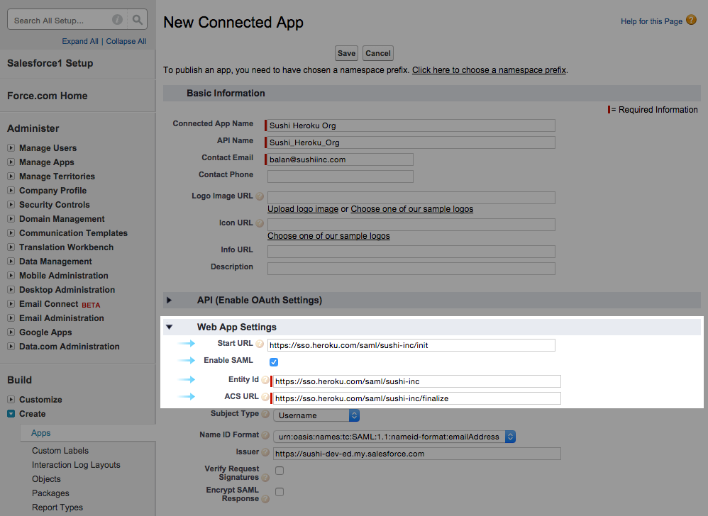 Salesforce SSO settings