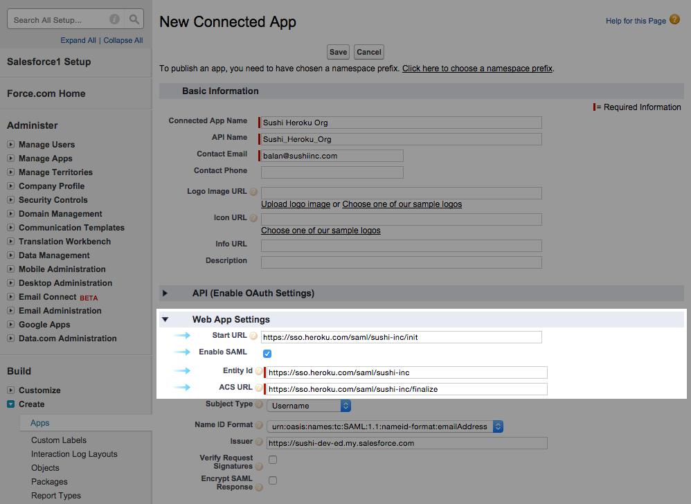 Salesforce SSO settings