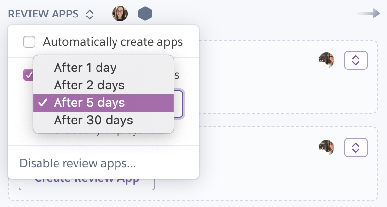 Manage Heroku review apps from the Pipeline's main page.