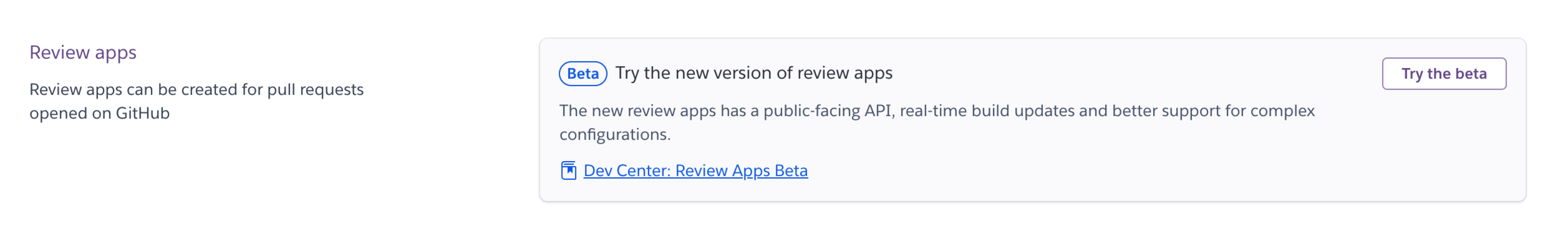 Enable Review Apps Beta