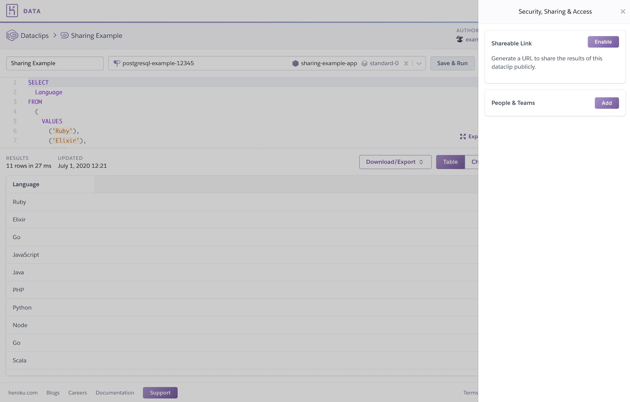 Screenshot of data.heroku.com with the Dataclip sharing flyout visible