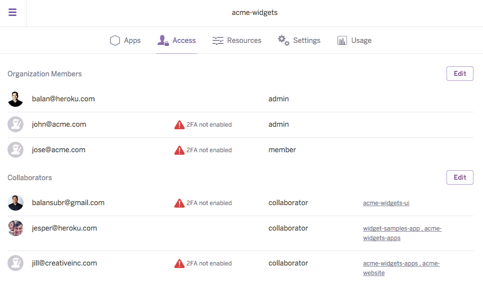 Managing Enterprise Team Users and Application Access   Heroku Dev