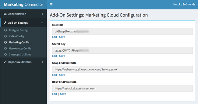 Settings Tab-Marketing Cloud Config
